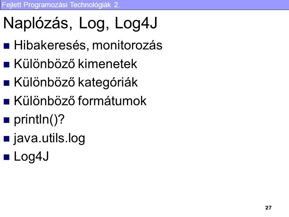 Fejlett Programozási Technológiák 2. 27 Naplózás, Log, Log4J Hibakeresés, monitorozás Különböző kimenetek Különböző kategóriák Különböző formátumok pr