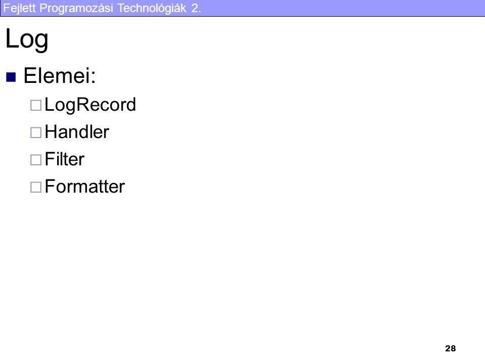 Fejlett Programozási Technológiák 2. 28 Log Elemei:  LogRecord  Handler  Filter  Formatter