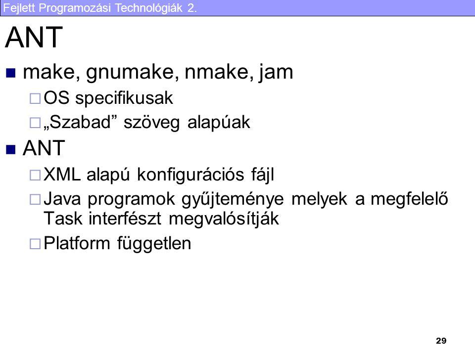 """Fejlett Programozási Technológiák 2. 29 ANT make, gnumake, nmake, jam  OS specifikusak  """"Szabad"""" szöveg alapúak ANT  XML alapú konfigurációs fájl """