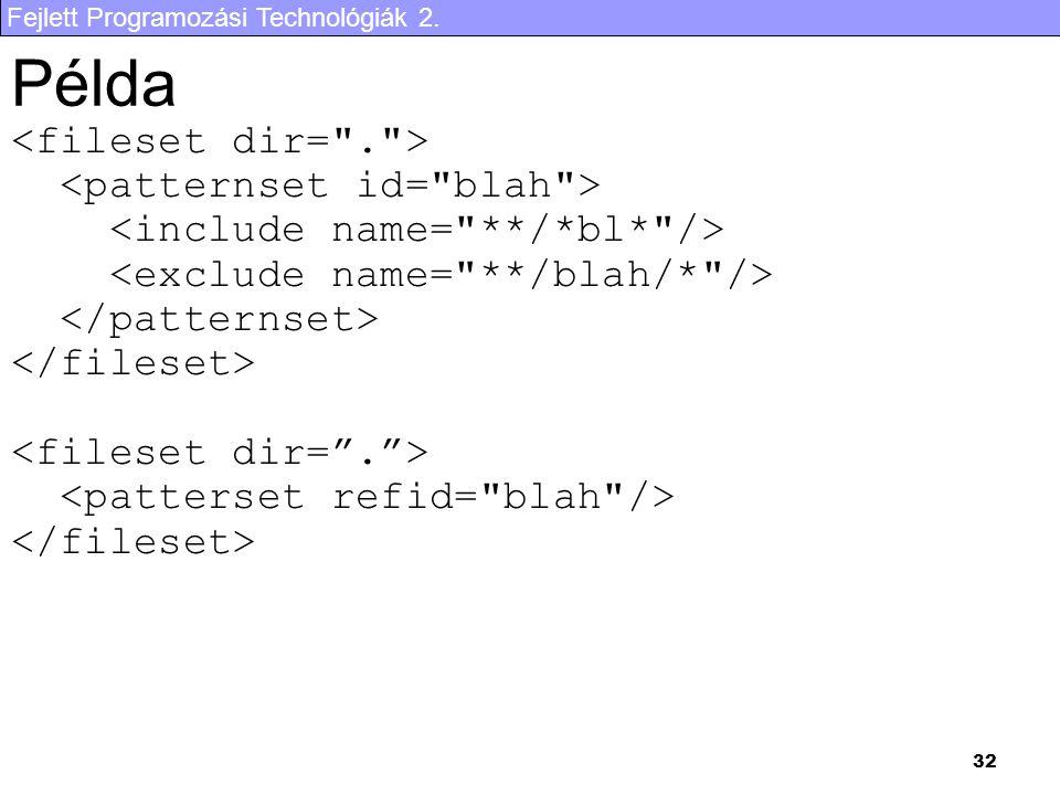 Fejlett Programozási Technológiák 2. 32 Példa