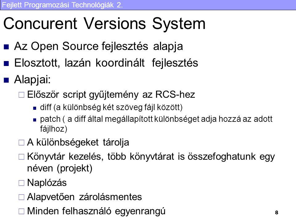Fejlett Programozási Technológiák 2. 8 Concurent Versions System Az Open Source fejlesztés alapja Elosztott, lazán koordinált fejlesztés Alapjai:  El
