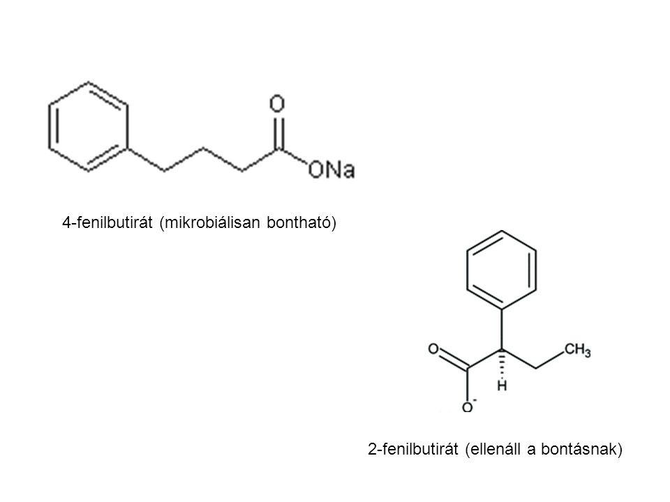 4-fenilbutirát (mikrobiálisan bontható) 2-fenilbutirát (ellenáll a bontásnak)