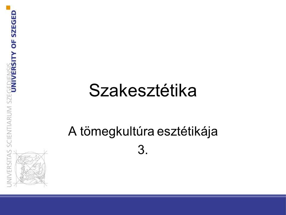 Szakesztétika A tömegkultúra esztétikája 3.