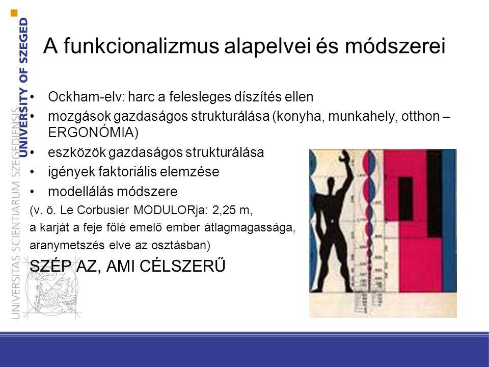 A funkcionalizmus alapelvei és módszerei Ockham-elv: harc a felesleges díszítés ellen mozgások gazdaságos strukturálása (konyha, munkahely, otthon – E