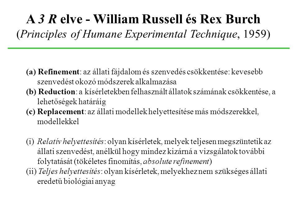 A 3 R elve - William Russell és Rex Burch (Principles of Humane Experimental Technique, 1959) (a) Refinement: az állati fájdalom és szenvedés csökkent