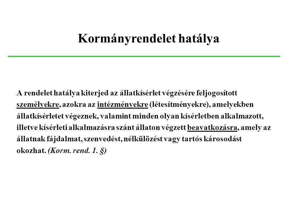 A rendelet hatálya kiterjed az állatkísérlet végzésére feljogosított személyekre, azokra az intézményekre (létesítményekre), amelyekben állatkísérlete