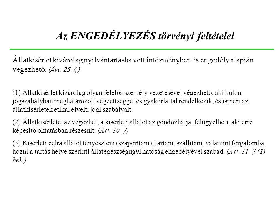 Az ENGEDÉLYEZÉS törvényi feltételei Állatkísérlet kizárólag nyilvántartásba vett intézményben és engedély alapján végezhető. (Ávt. 25. §) (1) Állatkís