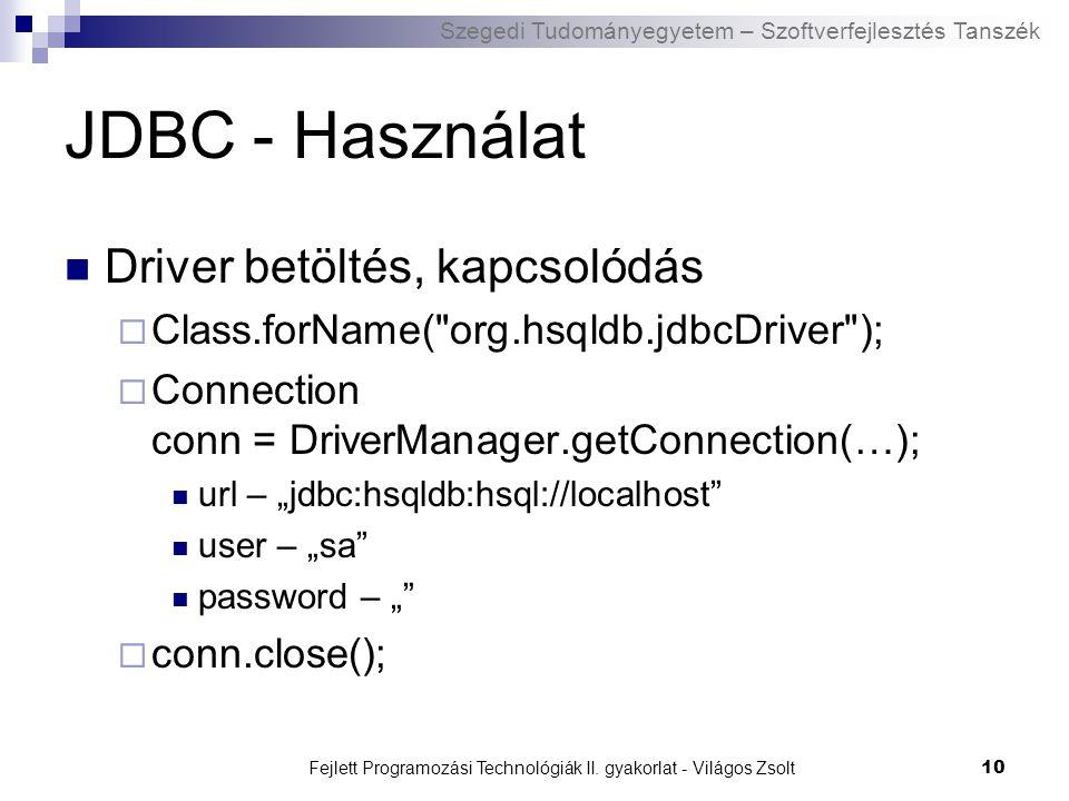 Szegedi Tudományegyetem – Szoftverfejlesztés Tanszék Fejlett Programozási Technológiák II. gyakorlat - Világos Zsolt10 JDBC - Használat Driver betölté