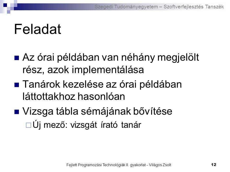 Szegedi Tudományegyetem – Szoftverfejlesztés Tanszék Fejlett Programozási Technológiák II. gyakorlat - Világos Zsolt12 Feladat Az órai példában van né
