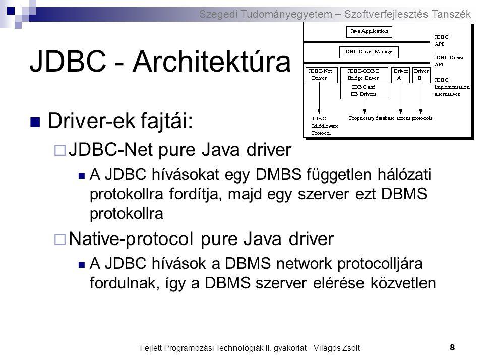 Szegedi Tudományegyetem – Szoftverfejlesztés Tanszék Fejlett Programozási Technológiák II. gyakorlat - Világos Zsolt8 JDBC - Architektúra Driver-ek fa