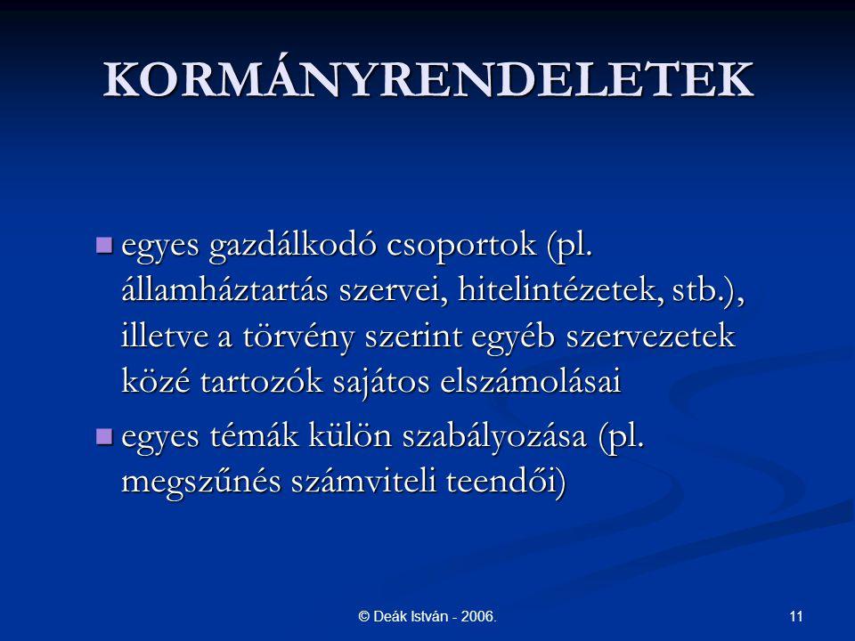 11© Deák István - 2006.KORMÁNYRENDELETEK egyes gazdálkodó csoportok (pl.