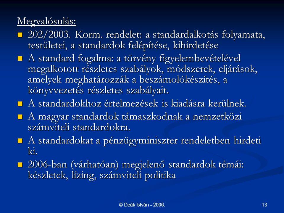 13© Deák István - 2006.Megvalósulás: 202/2003. Korm.