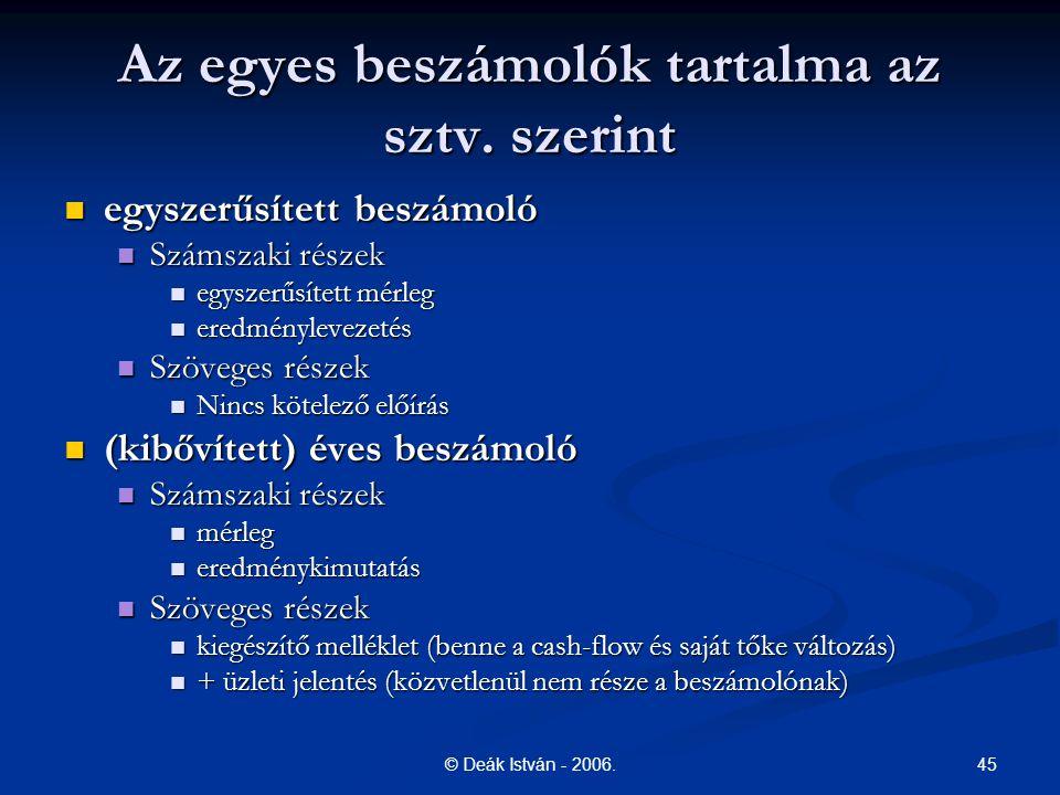 45© Deák István - 2006.Az egyes beszámolók tartalma az sztv.