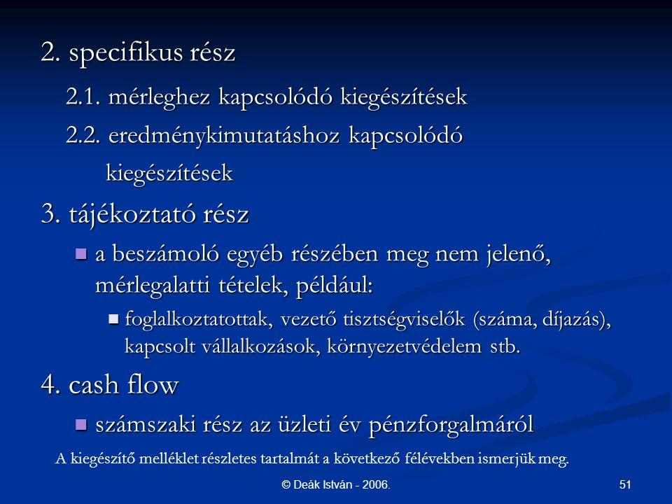 51© Deák István - 2006.2. specifikus rész 2.1. mérleghez kapcsolódó kiegészítések 2.2.