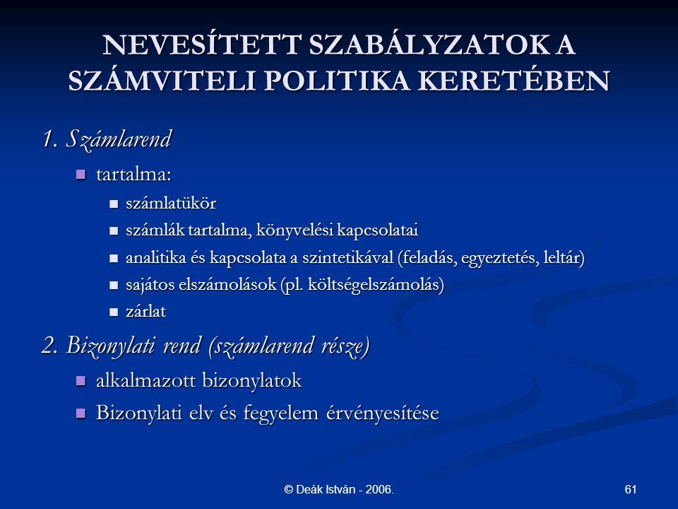 61© Deák István - 2006.NEVESÍTETT SZABÁLYZATOK A SZÁMVITELI POLITIKA KERETÉBEN 1.