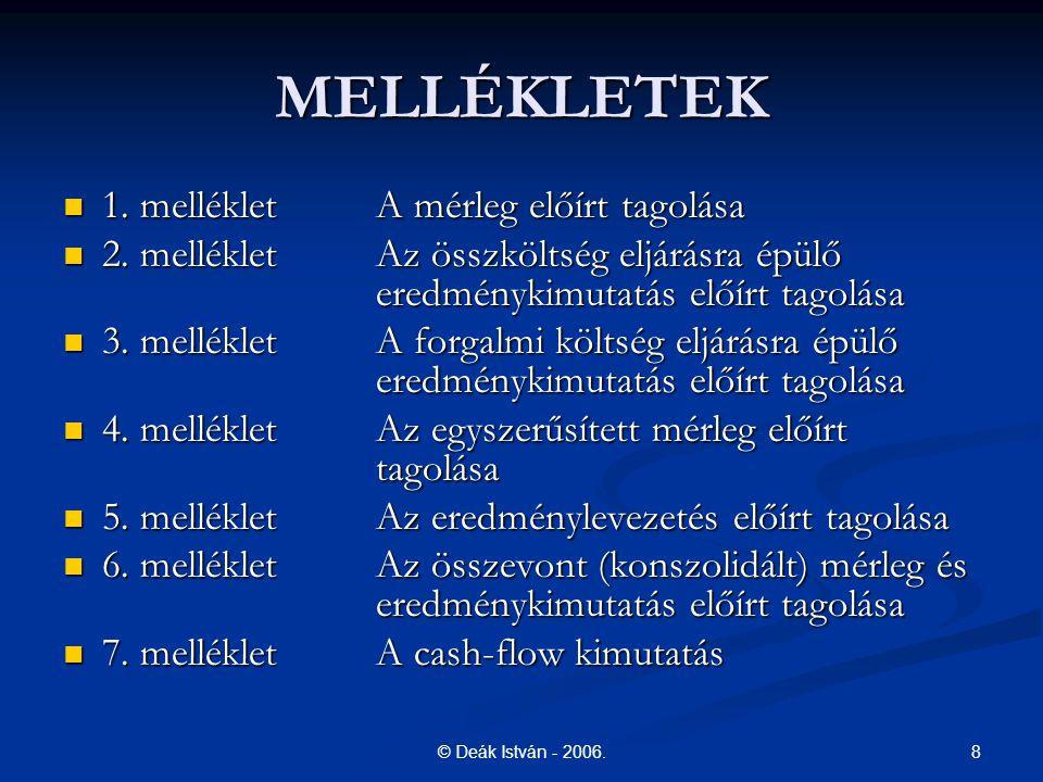 8© Deák István - 2006.MELLÉKLETEK 1. mellékletA mérleg előírt tagolása 1.