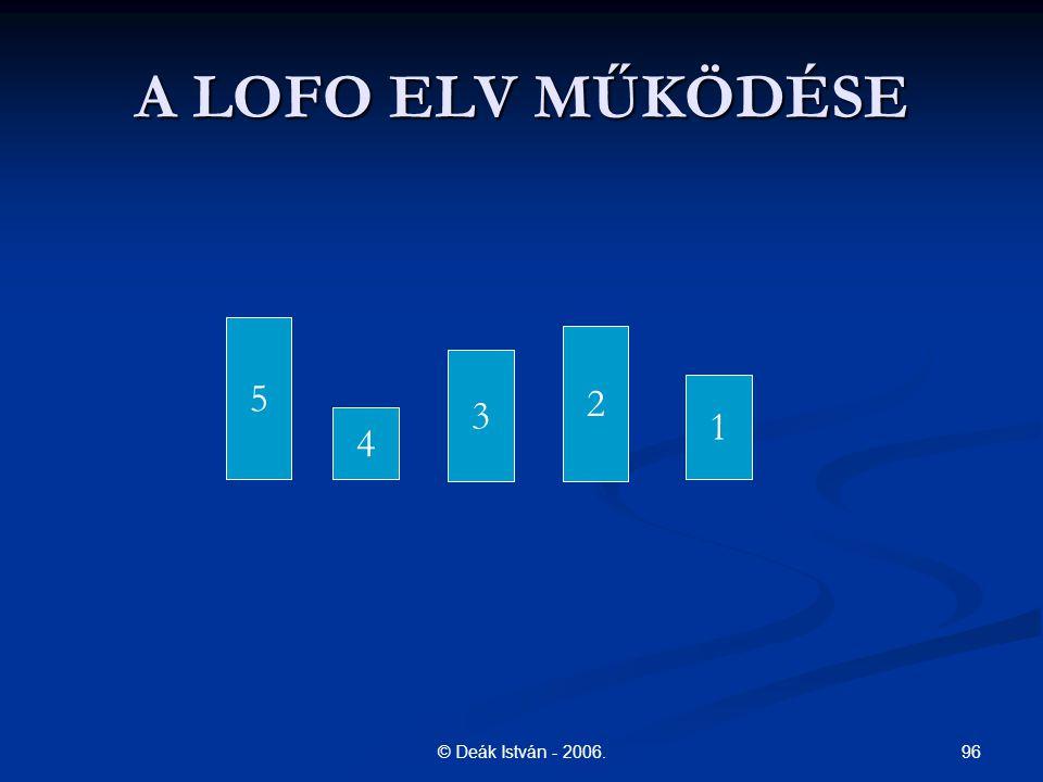 96© Deák István - 2006. A LOFO ELV MŰKÖDÉSE 5 4 3 2 1