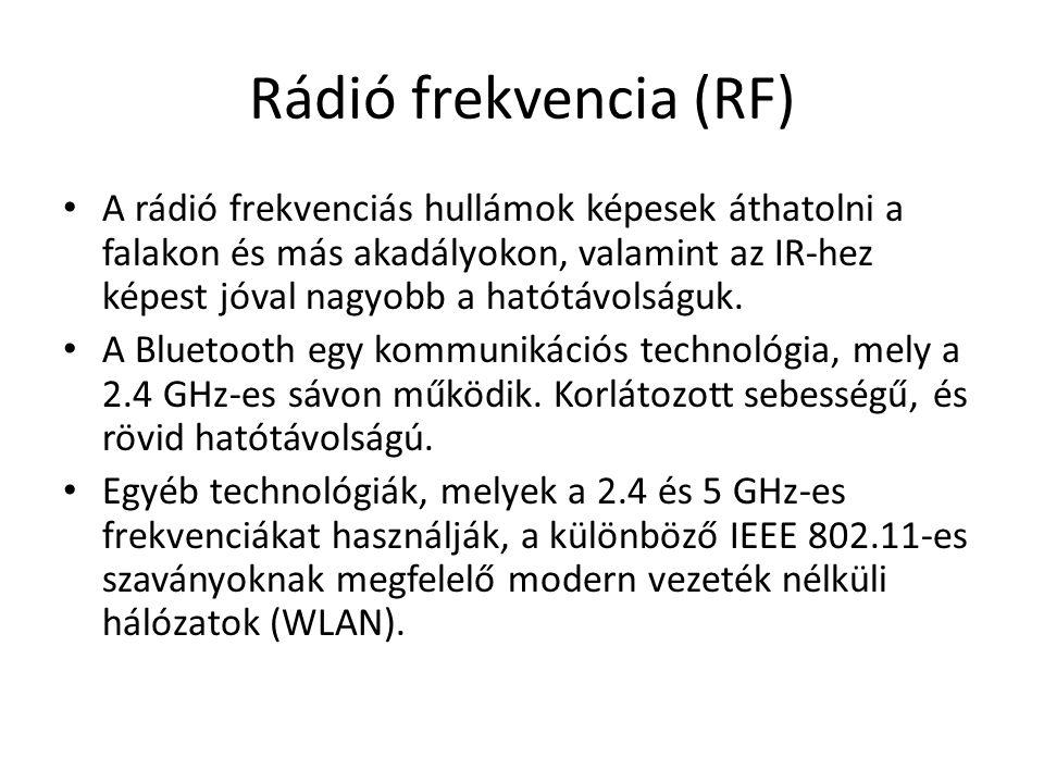Rádió frekvencia (RF) A rádió frekvenciás hullámok képesek áthatolni a falakon és más akadályokon, valamint az IR-hez képest jóval nagyobb a hatótávol