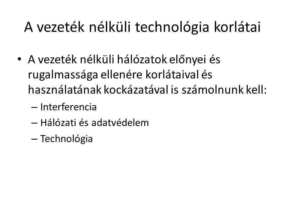 A vezeték nélküli hálózatok előnyei és rugalmassága ellenére korlátaival és használatának kockázatával is számolnunk kell: – Interferencia – Hálózati