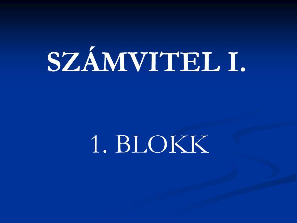 SZÁMVITEL I. 1. BLOKK