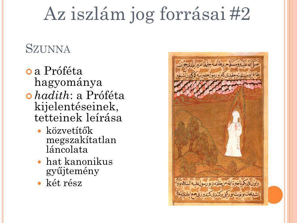 S ZUNNA a Próféta hagyománya hadith : a Próféta kijelentéseinek, tetteinek leírása közvetítők megszakítatlan láncolata hat kanonikus gyűjtemény két ré