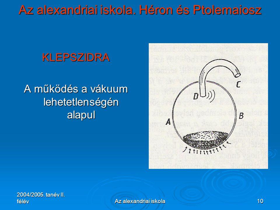 2004/2005. tanév II. félévAz alexandriai iskola10 Az alexandriai iskola. Héron és Ptolemaiosz KLEPSZIDRA A működés a vákuum lehetetlenségén alapul