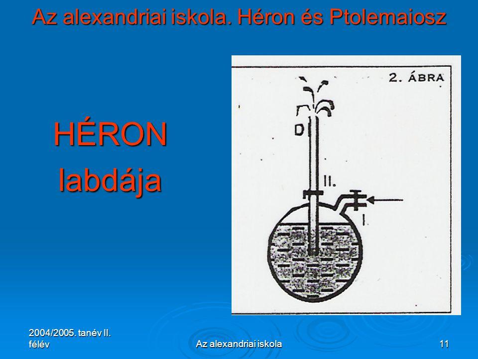 2004/2005. tanév II. félévAz alexandriai iskola11 Az alexandriai iskola. Héron és Ptolemaiosz HÉRONlabdája