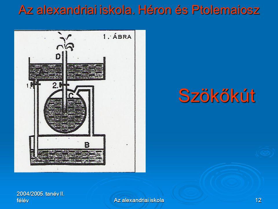 2004/2005. tanév II. félévAz alexandriai iskola12 Az alexandriai iskola. Héron és Ptolemaiosz Szökőkút