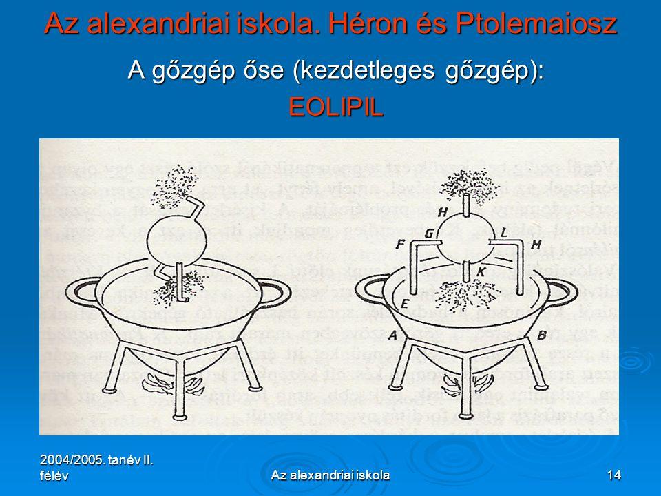 2004/2005. tanév II. félévAz alexandriai iskola14 Az alexandriai iskola. Héron és Ptolemaiosz A gőzgép őse (kezdetleges gőzgép): EOLIPIL