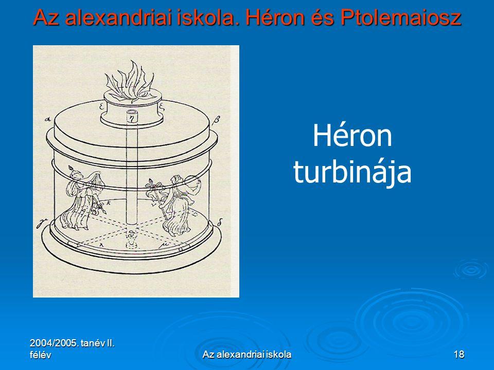 2004/2005. tanév II. félévAz alexandriai iskola18 Az alexandriai iskola. Héron és Ptolemaiosz Héron turbinája