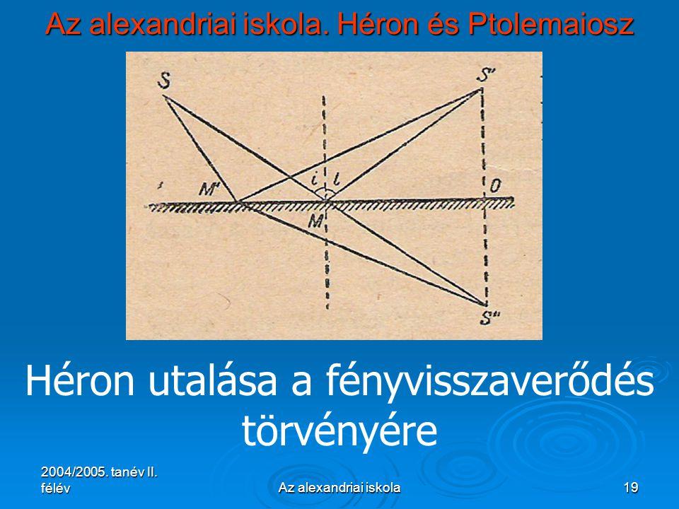 2004/2005. tanév II. félévAz alexandriai iskola19 Az alexandriai iskola. Héron és Ptolemaiosz Héron utalása a fényvisszaverődés törvényére