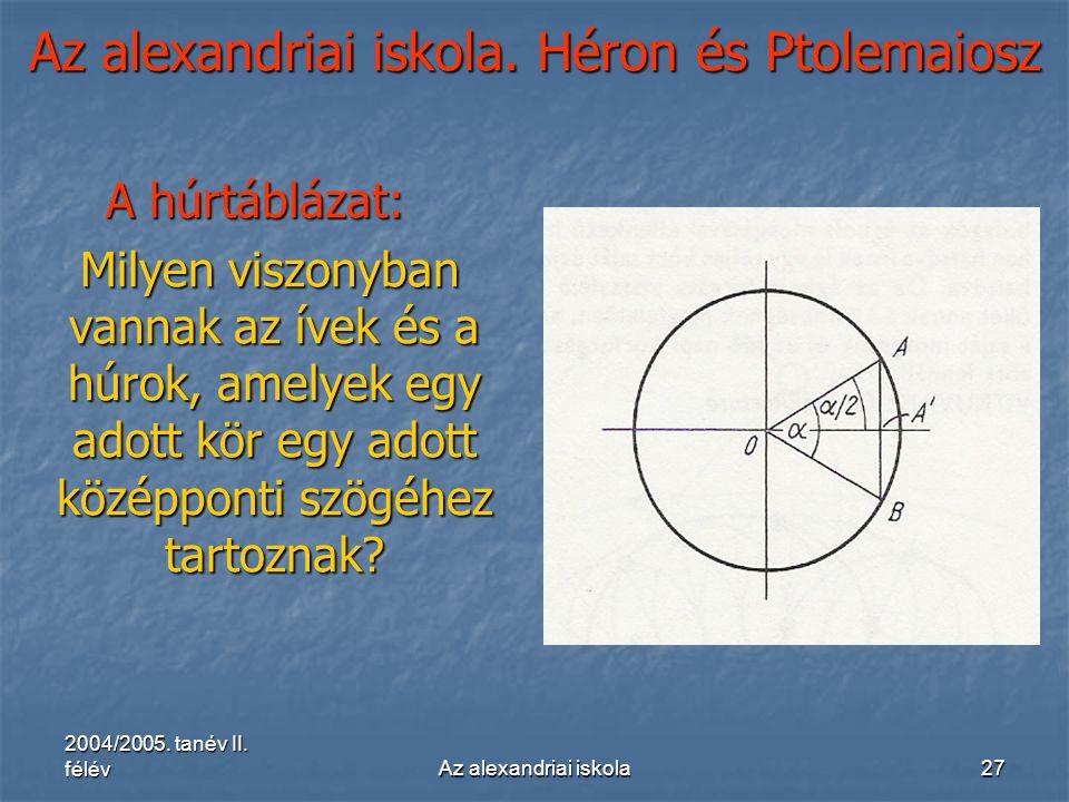 2004/2005. tanév II. félévAz alexandriai iskola27 Az alexandriai iskola. Héron és Ptolemaiosz A húrtáblázat: Milyen viszonyban vannak az ívek és a húr