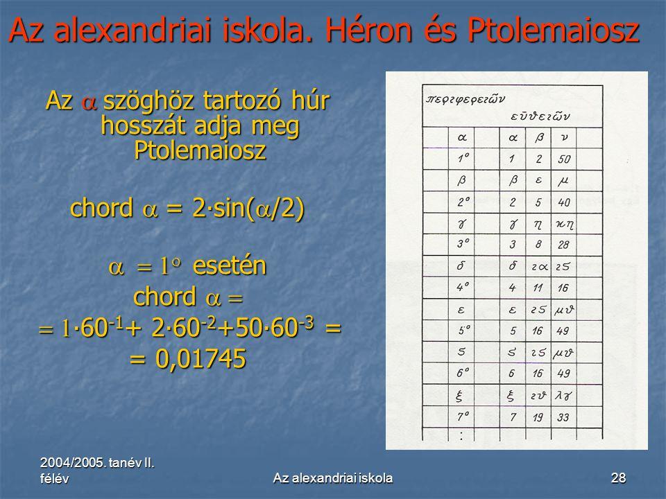 2004/2005. tanév II. félévAz alexandriai iskola28 Az alexandriai iskola. Héron és Ptolemaiosz Az  szöghöz tartozó húr hosszát adja meg Ptolemaiosz c