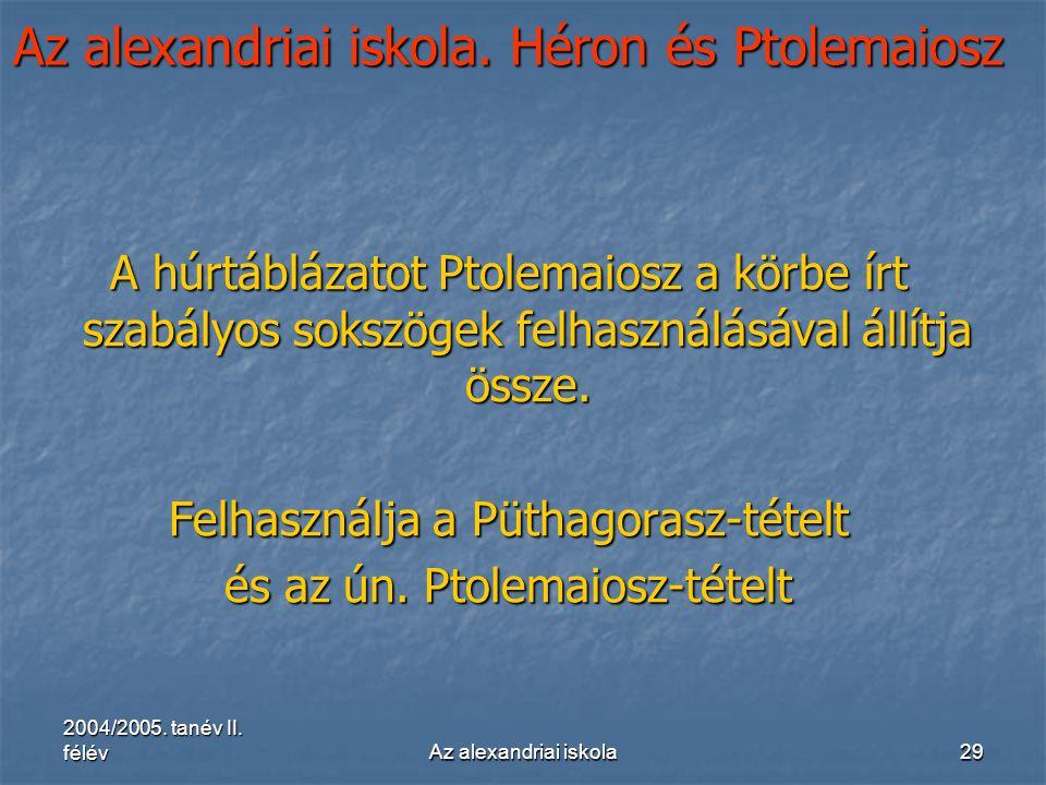 2004/2005. tanév II. félévAz alexandriai iskola29 Az alexandriai iskola. Héron és Ptolemaiosz A húrtáblázatot Ptolemaiosz a körbe írt szabályos sokszö