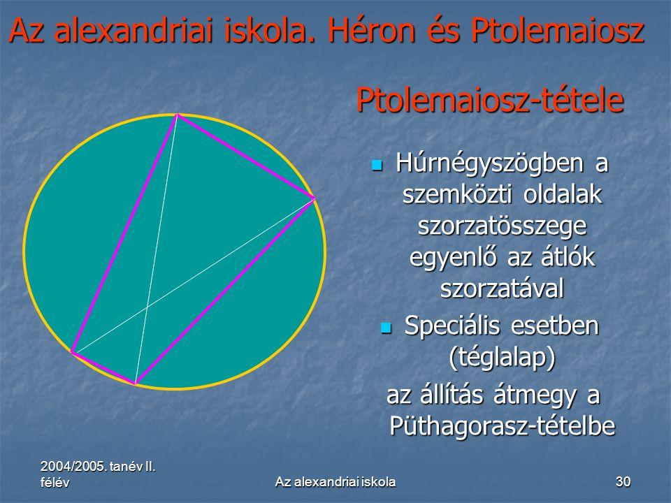 2004/2005. tanév II. félévAz alexandriai iskola30 Az alexandriai iskola. Héron és Ptolemaiosz Ptolemaiosz-tétele Húrnégyszögben a szemközti oldalak sz