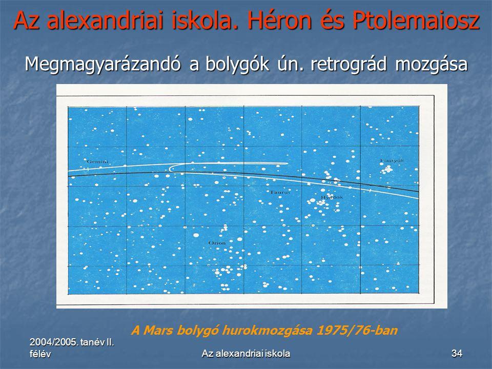 2004/2005. tanév II. félévAz alexandriai iskola34 Az alexandriai iskola. Héron és Ptolemaiosz Megmagyarázandó a bolygók ún. retrográd mozgása A Mars b