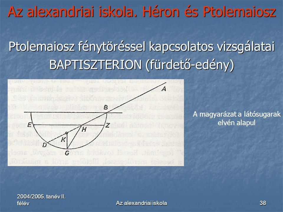 2004/2005. tanév II. félévAz alexandriai iskola38 Az alexandriai iskola. Héron és Ptolemaiosz Ptolemaiosz fénytöréssel kapcsolatos vizsgálatai BAPTISZ
