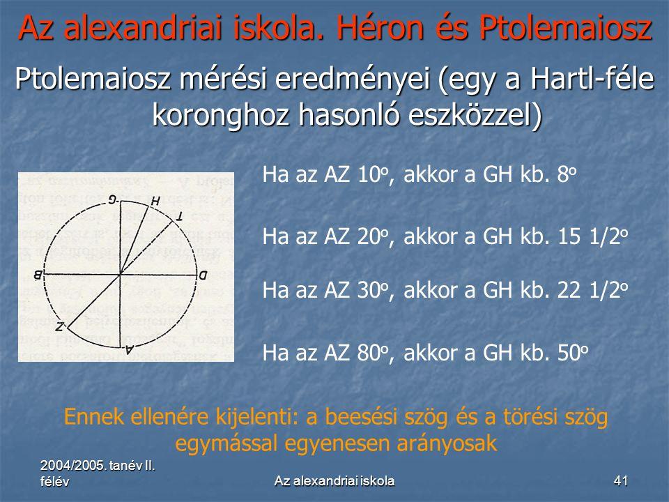 2004/2005. tanév II. félévAz alexandriai iskola41 Az alexandriai iskola. Héron és Ptolemaiosz Ptolemaiosz mérési eredményei (egy a Hartl-féle korongho