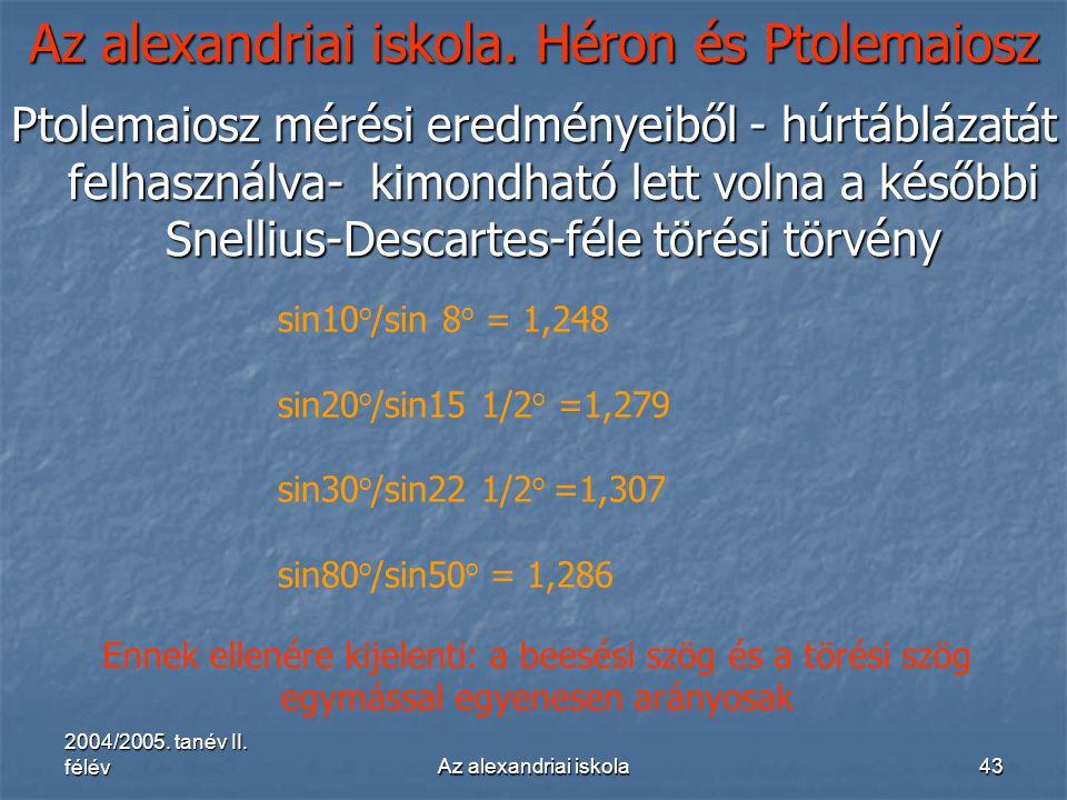 2004/2005. tanév II. félévAz alexandriai iskola43 Az alexandriai iskola. Héron és Ptolemaiosz Ptolemaiosz mérési eredményeiből - húrtáblázatát felhasz