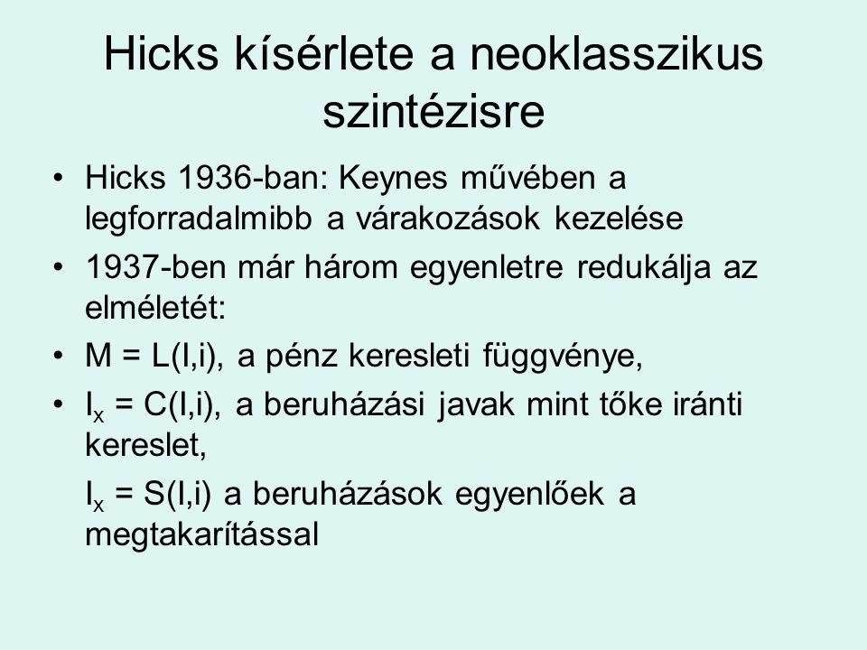 Hicks kísérlete a neoklasszikus szintézisre Hicks 1936-ban: Keynes művében a legforradalmibb a várakozások kezelése 1937-ben már három egyenletre redu