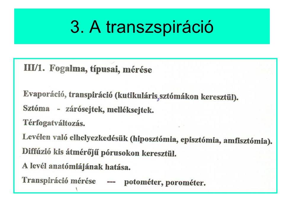 3. A transzspiráció