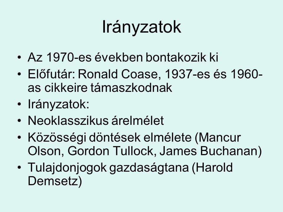 Irányzatok Az 1970-es években bontakozik ki Előfutár: Ronald Coase, 1937-es és 1960- as cikkeire támaszkodnak Irányzatok: Neoklasszikus árelmélet Közösségi döntések elmélete (Mancur Olson, Gordon Tullock, James Buchanan) Tulajdonjogok gazdaságtana (Harold Demsetz)