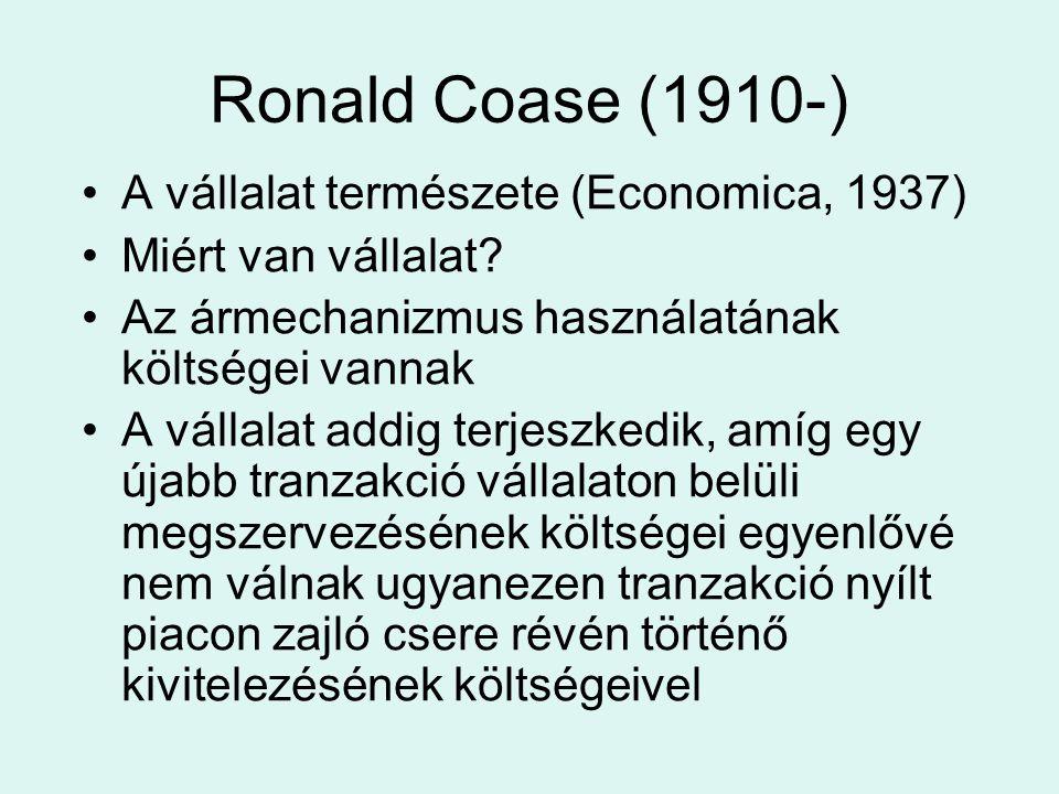 Ronald Coase (1910-) A vállalat természete (Economica, 1937) Miért van vállalat.