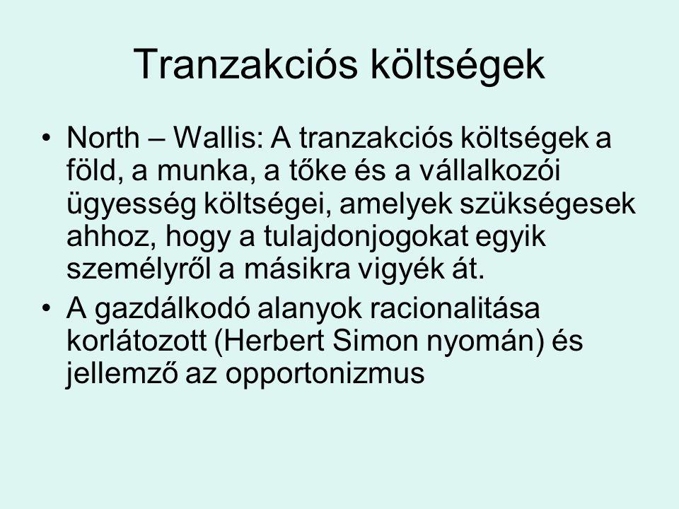 Tranzakciós költségek North – Wallis: A tranzakciós költségek a föld, a munka, a tőke és a vállalkozói ügyesség költségei, amelyek szükségesek ahhoz, hogy a tulajdonjogokat egyik személyről a másikra vigyék át.
