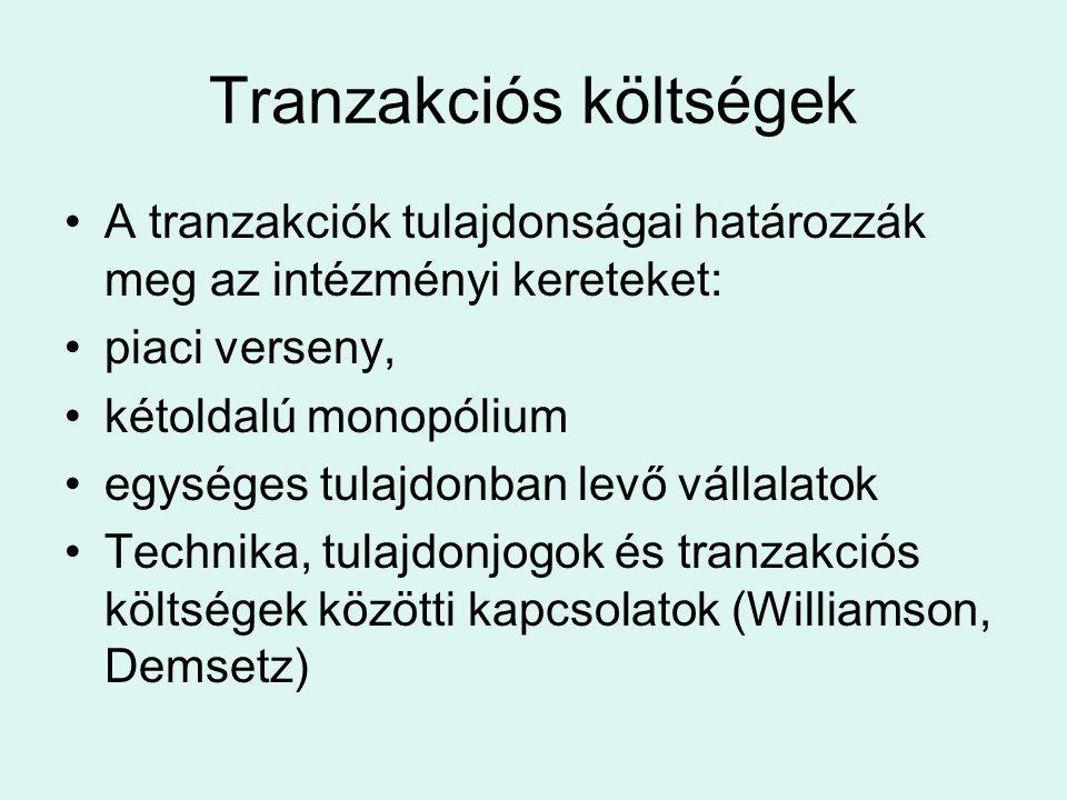 Tranzakciós költségek A tranzakciók tulajdonságai határozzák meg az intézményi kereteket: piaci verseny, kétoldalú monopólium egységes tulajdonban levő vállalatok Technika, tulajdonjogok és tranzakciós költségek közötti kapcsolatok (Williamson, Demsetz)