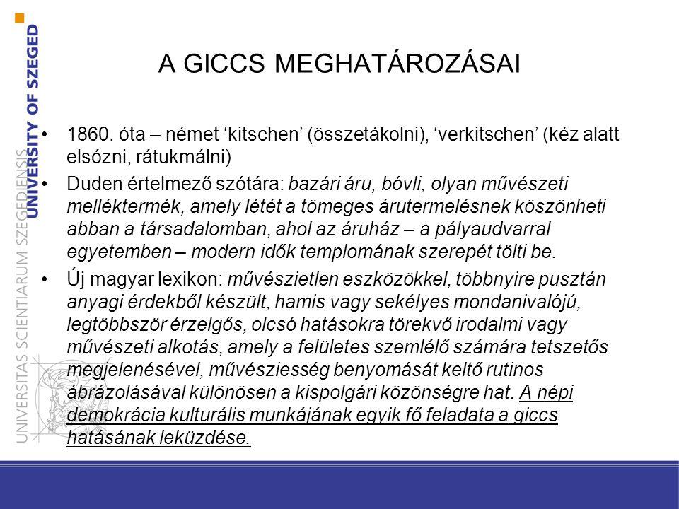 A GICCS MEGHATÁROZÁSAI II.