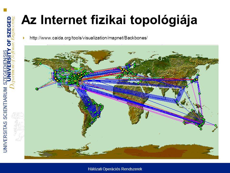 UNIVERSITY OF SZEGED D epartment of Software Engineering UNIVERSITAS SCIENTIARUM SZEGEDIENSIS 4 Az Internet struktúrája  Globális elérhetőség (a felhasználó nem veszi észre, hogy sok hálózat van, csak egyet lát)  Hierarchikus szerkezetű ■TierI (kapcsolatot ad el vagy társul) ■TierII (társul és fizet másnak a kapcsolatért) ■Tier III.