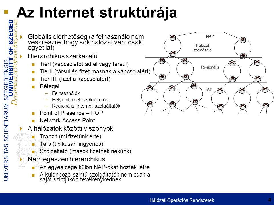 UNIVERSITY OF SZEGED D epartment of Software Engineering UNIVERSITAS SCIENTIARUM SZEGEDIENSIS 35 Tűzfal típusok: Csomagszűrő  Mivel a különböző hálózatokat leggyakrabban forgalomirányítók kötik össze ezért ezen funkciók leggyakrabban itt található  Ha már van router akkor mindenképpen azon célszerű implementálni  A 3.