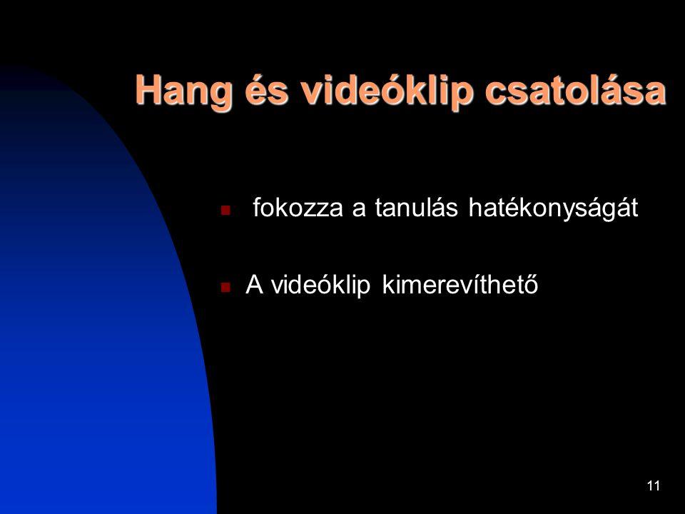 11 Hang és videóklip csatolása fokozza a tanulás hatékonyságát A videóklip kimerevíthető