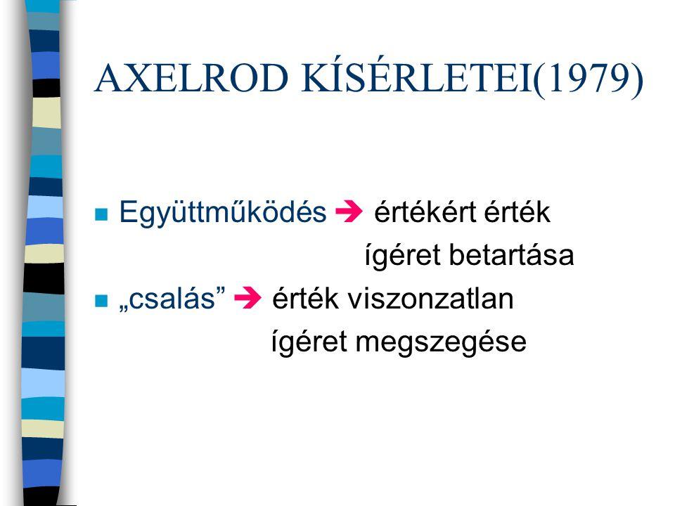"""AXELROD KÍSÉRLETEI(1979) n Együttműködés  értékért érték ígéret betartása n """"csalás""""  érték viszonzatlan ígéret megszegése"""